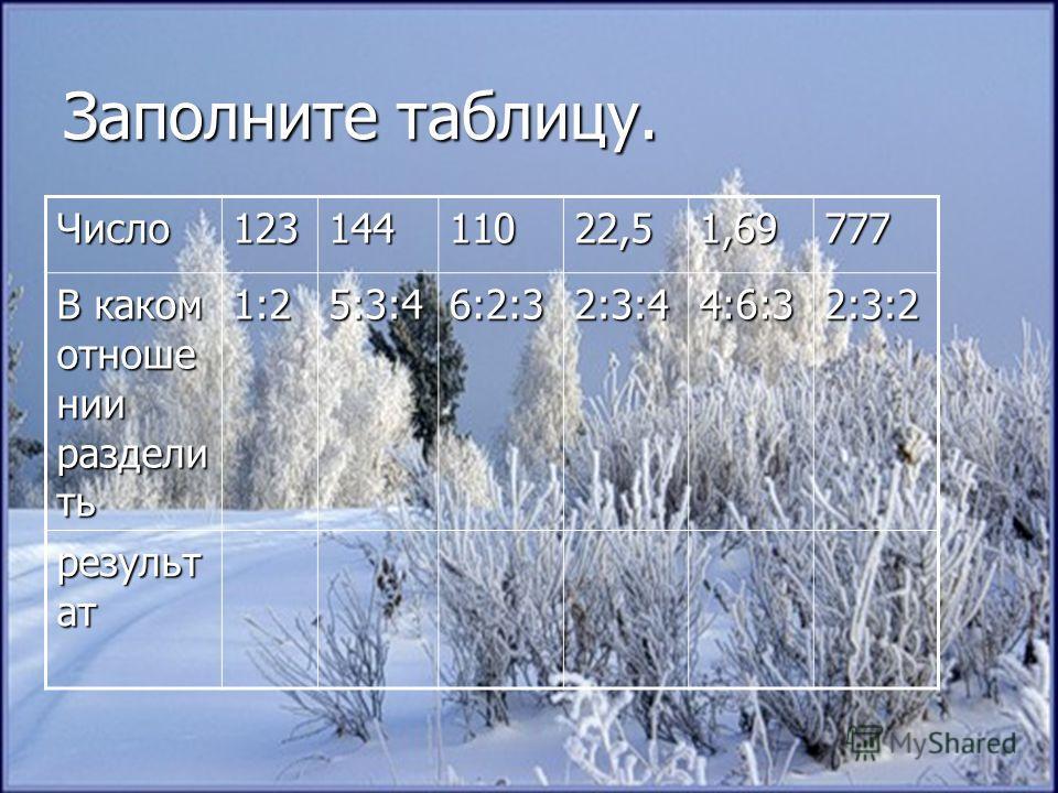 Заполните таблицу. Число12314411022,51,69777 В каком отноше нии раздели ть 1:25:3:46:2:32:3:44:6:32:3:2 результ ат
