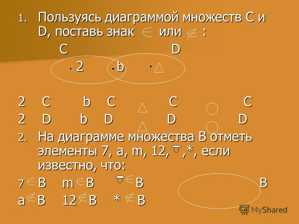 1. Пользуясь диаграммой множеств C и D, поставь знак или : C D C D 2 b 2 b 2 C b C C C 2 D b D D D 2. На диаграмме множества В отметь элементы 7, a, m, 12,,*, если известно, что: 7 В m В В В а В 12 В * В