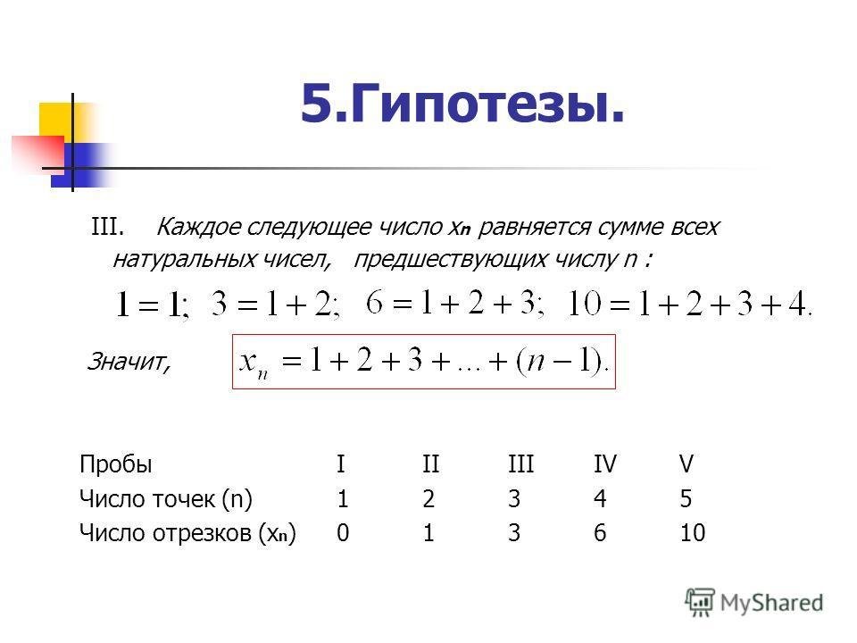 5.Гипотезы. III. Каждое следующее число х n равняется сумме всех натуральных чисел, предшествующих числу n : Значит, Пробы IIIIIIIVV Число точек (n)12345 Число отрезков (х n )013610