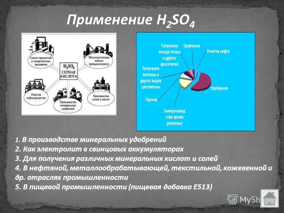 Применение H 2 SO 4 1. В производстве минеральных удобрений 2. Как электролит в свинцовых аккумуляторах 3. Для получения различных минеральных кислот и солей 4. В нефтяной, металлообрабатывающей, текстильной, кожевенной и др. отраслях промышленности
