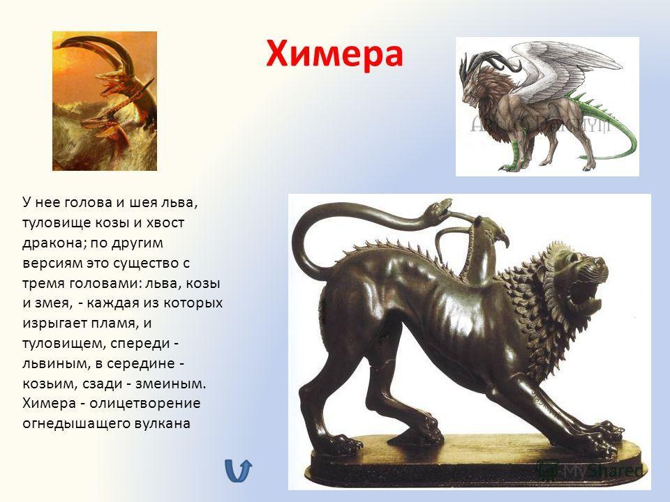 Химера У нее голова и шея льва, туловище козы и хвост дракона; по другим версиям это существо с тремя головами: льва, козы и змея, - каждая из которых изрыгает пламя, и туловищем, спереди - львиным, в середине - козьим, сзади - змеиным. Химера - олиц