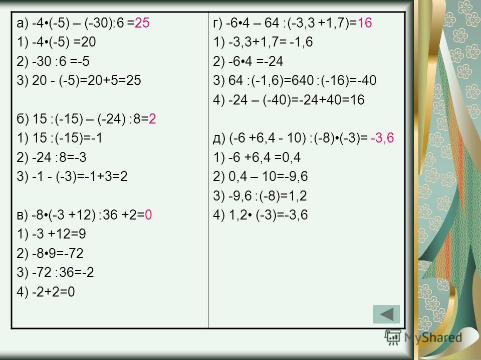а) -4(-5) – (-30)׃6 =25 1) -4(-5) =20 2) -30 ׃6 =-5 3) 20 - (-5)=20+5=25 б) 15 ׃(-15) – (-24) ׃8=2 1) 15 ׃(-15)=-1 2) -24 ׃8=-3 3) -1 - (-3)=-1+3=2 в) -8(-3 +12) ׃36 +2=0 1) -3 +12=9 2) -89=-72 3) -72 ׃36=-2 4) -2+2=0 г) -64 – 64 ׃(-3,3 +1,7)=16 1) -