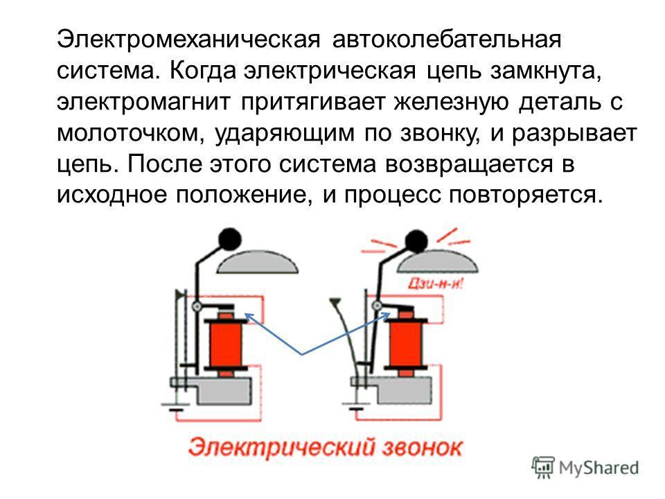 Электромеханическая автоколебательная система. Когда электрическая цепь замкнута, электромагнит притягивает железную деталь с молоточком, ударяющим по звонку, и разрывает цепь. После этого система возвращается в исходное положение, и процесс повторяе