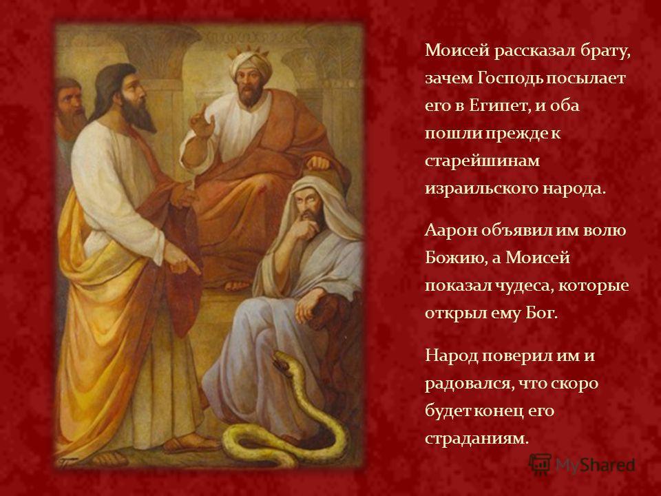 Моисей рассказал брату, зачем Господь посылает его в Египет, и оба пошли прежде к старейшинам израильского народа. Аарон объявил им волю Божию, а Моисей показал чудеса, которые открыл ему Бог. Народ поверил им и радовался, что скоро будет конец его с