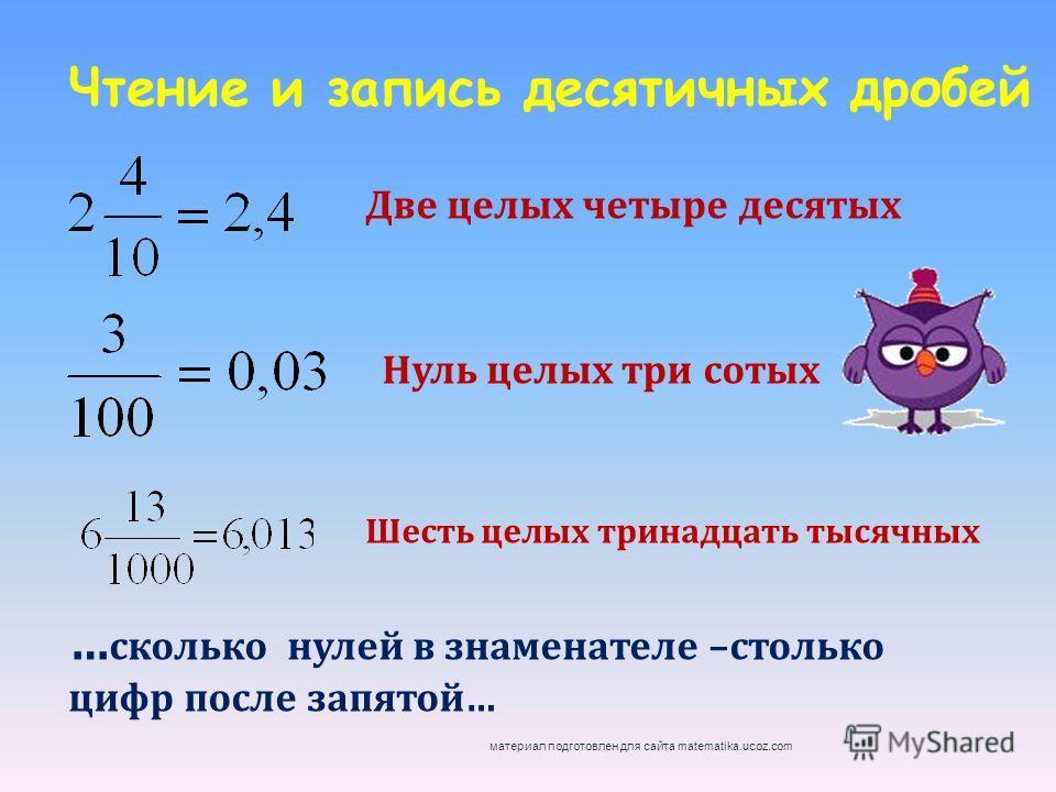 Чтение и запись десятичных дробей Две целых четыре десятых Нуль целых три сотых Шесть целых тринадцать тысячных … сколько нулей в знаменателе –столько цифр после запятой… материал подготовлен для сайта matematika.ucoz.com