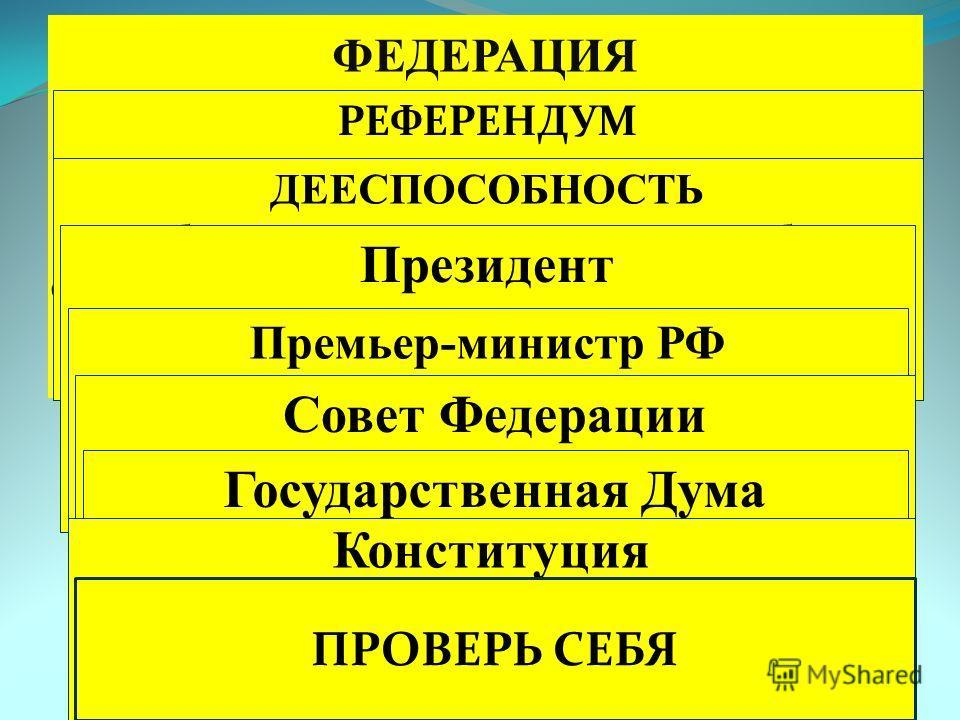 ФЕДЕРАЦИЯ форма государственного устройства, при которой входящие в состав государства единицы (земли, штаты, области и т.д.) имеют собственные конституции, законодательные, исполнительные, судебные органы; при этом образуют единые для всех органы го