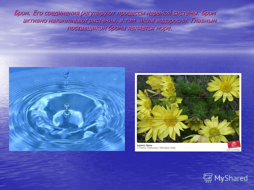 Бром. Его соединения регулируют процессы нервной системы. Бром активно накапливают растения, в том числе водоросли. Главным поставщиком брома является море.