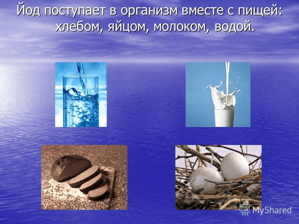 Йод поступает в организм вместе с пищей: хлебом, яйцом, молоком, водой.
