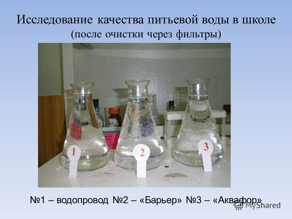 Исследование качества питьевой воды в школе (после очистки через фильтры) 1 – водопровод 2 – «Барьер» 3 – «Аквафор»
