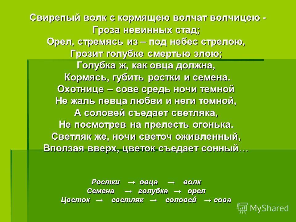 Свирепый волк с кормящею волчат волчицею - Гроза невинных стад; Орел, стремясь из – под небес стрелою, Грозит голубке смертью злою; Голубка ж, как овца должна, Кормясь, губить ростки и семена. Охотнице – сове средь ночи темной Не жаль певца любви и н