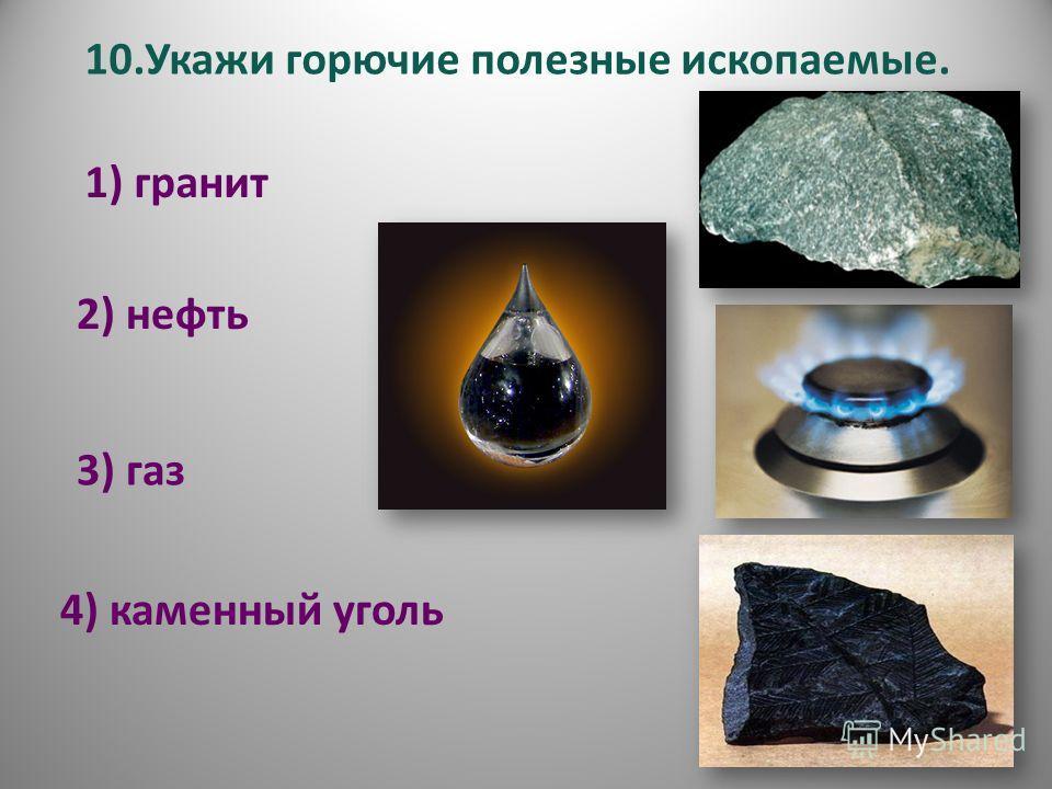 10.Укажи горючие полезные ископаемые. 1) гранит 2) нефть 3) газ 4) каменный уголь