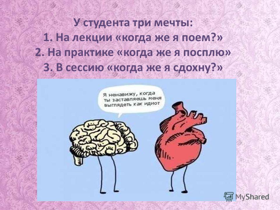 У студента три мечты: 1. На лекции «когда же я поем?» 2. На практике «когда же я посплю» 3. В сессию «когда же я сдохну?»