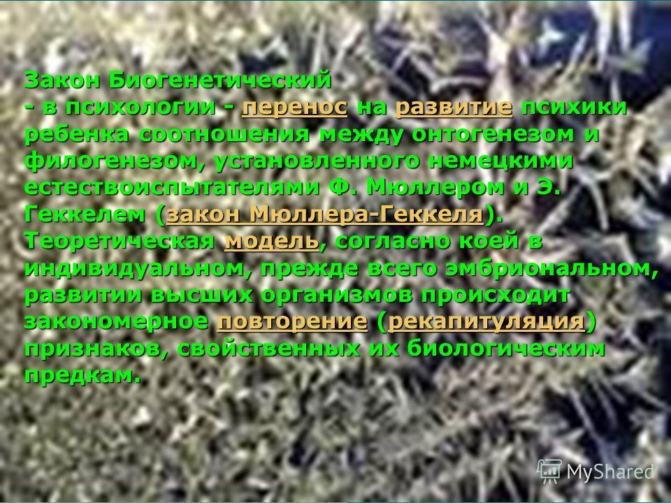 - в психологии - перенос на развитие психики ребенка соотношения между онтогенезом и филогенезом, установленного немецкими естествоиспытателями Ф. Мюллером и Э. Геккелем (закон Мюллера-Геккеля). Теоретическая модель, согласно коей в индивидуальном, п