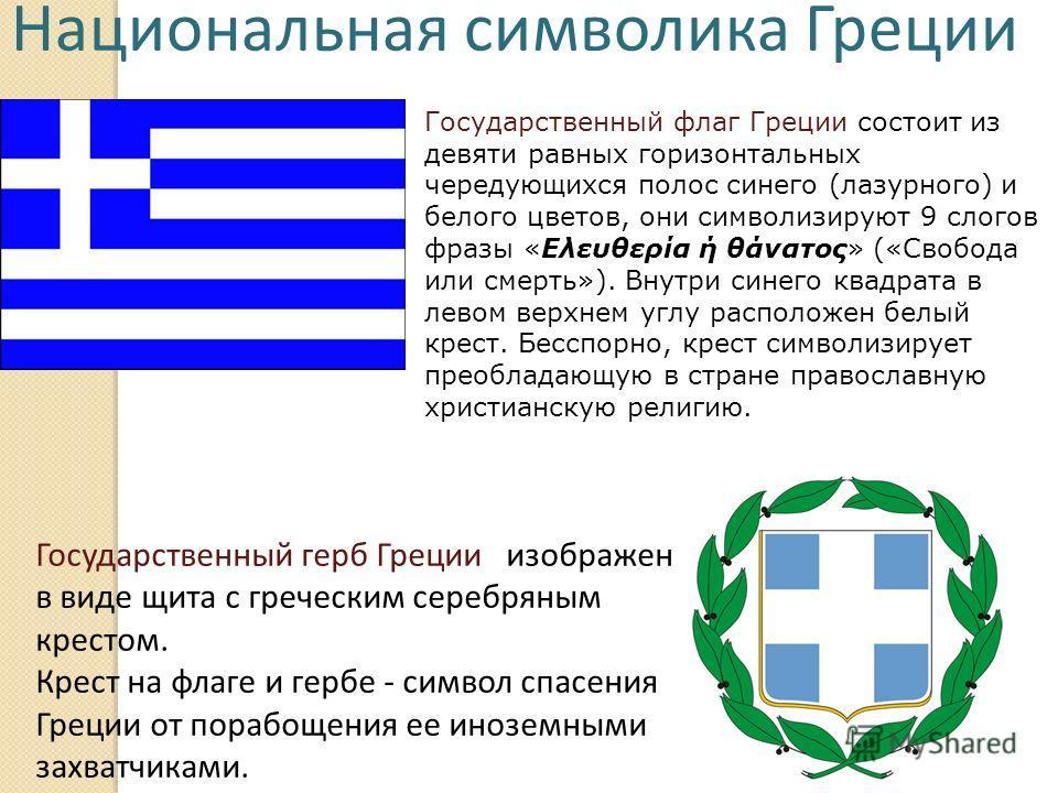 Национальная символика Греции Государственный флаг Греции состоит из девяти равных горизонтальных чередующихся полос синего (лазурного) и белого цветов, они символизируют 9 слогов фразы «Ελευθερία ή θάνατος» («Свобода или смерть»). Внутри синего квад