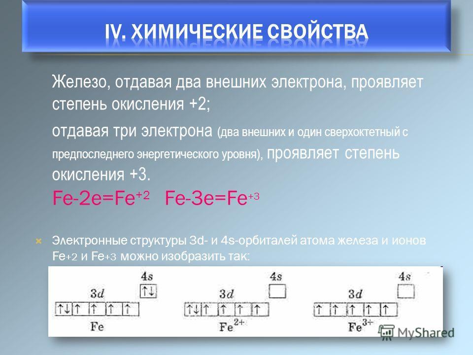 Железо, отдавая два внешних электрона, проявляет степень окисления +2; отдавая три электрона (два внешних и один сверхоктетный с предпоследнего энергетического уровня), проявляет степень окисления +3. Fe-2e=Fe +2 Fe-3e=Fe +3 Электронные структуры 3d-