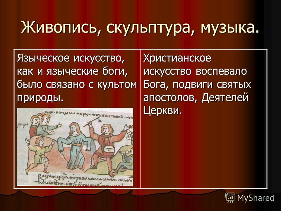 Живопись, скульптура, музыка. Языческое искусство, как и языческие боги, было связано с культом природы. Христианское искусство воспевало Бога, подвиги святых апостолов, Деятелей Церкви.