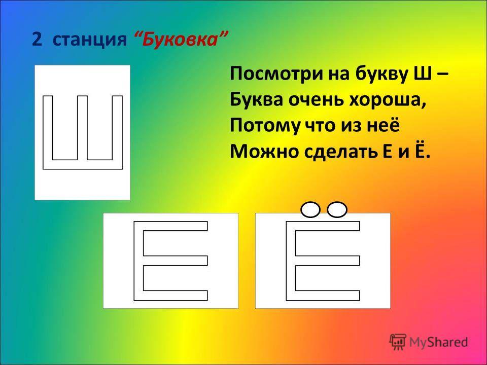 2 станция Буковка Посмотри на букву Ш – Буква очень хороша, Потому что из неё Можно сделать Е и Ё.