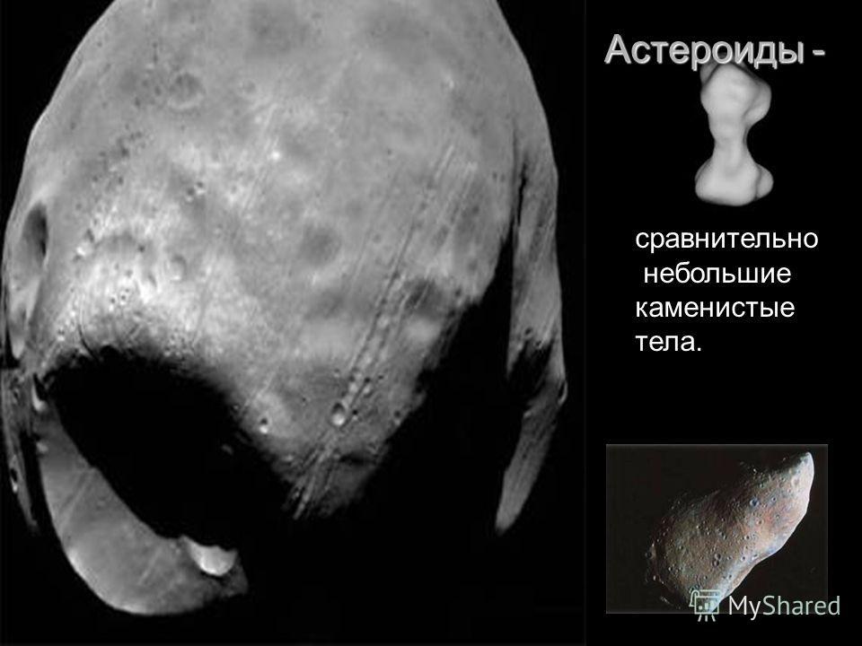 Астероиды - сравнительно небольшие каменистые тела.