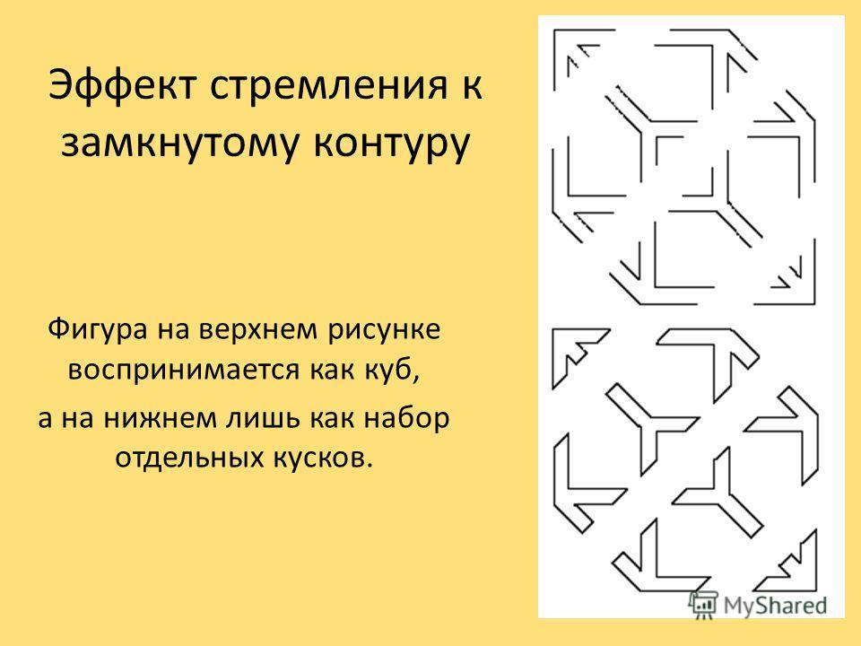 Эффект стремления к замкнутому контуру Фигура на верхнем рисунке воспринимается как куб, а на нижнем лишь как набор отдельных кусков.