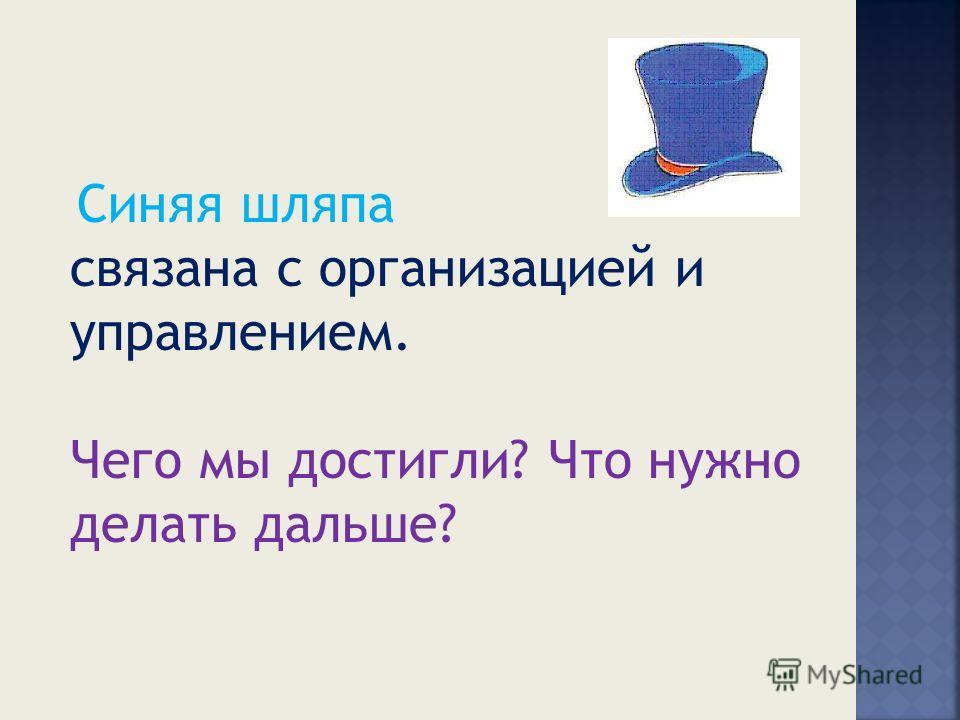 Синяя шляпа связана с организацией и управлением. Чего мы достигли? Что нужно делать дальше?