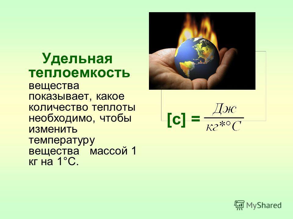 Удельная теплоемкость вещества показывает, какое количество теплоты необходимо, чтобы изменить температуру вещества массой 1 кг на 1°С. [c] =