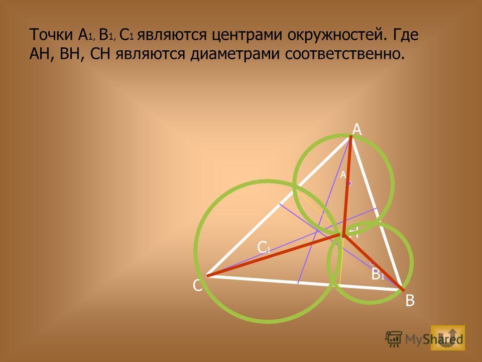 A B C H C1C1 A1A1 B1B1 Точки A 1, B 1, C 1 являются центрами окружностей. Где АН, ВН, СН являются диаметрами соответственно.
