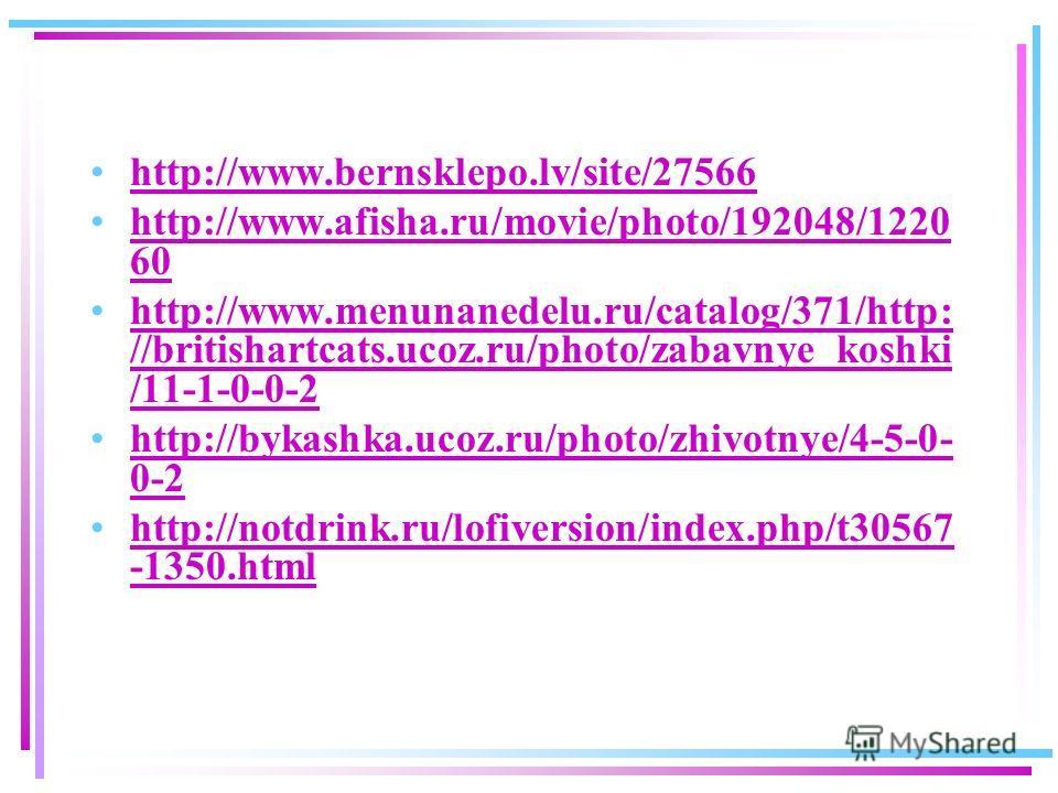 http://www.bernsklepo.lv/site/27566 http://www.afisha.ru/movie/photo/192048/1220 60http://www.afisha.ru/movie/photo/192048/1220 60 http://www.menunanedelu.ru/catalog/371/http: //britishartcats.ucoz.ru/photo/zabavnye_koshki /11-1-0-0-2http://www.menun