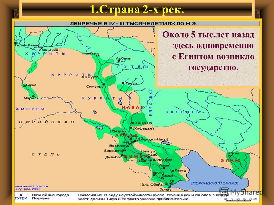 1.Страна 2-х рек. Двуречье-это стра- на,лежащая меж- ду 2-х рек-Тиг- ром и Евфратом. Опишите природные условия Двуречья и попытайтесь опреде лить,чем занима- лись его жители? Около 5 тыс.лет назад здесь одновременно с Египтом возникло государство.