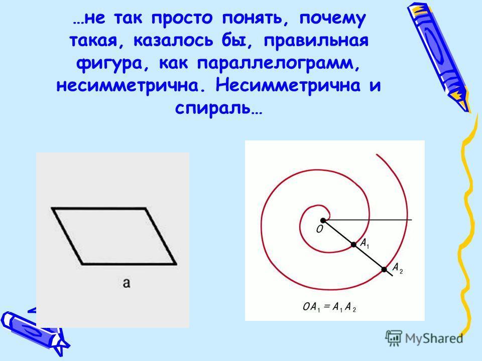 …не так просто понять, почему такая, казалось бы, правильная фигура, как параллелограмм, несимметрична. Несимметрична и спираль…