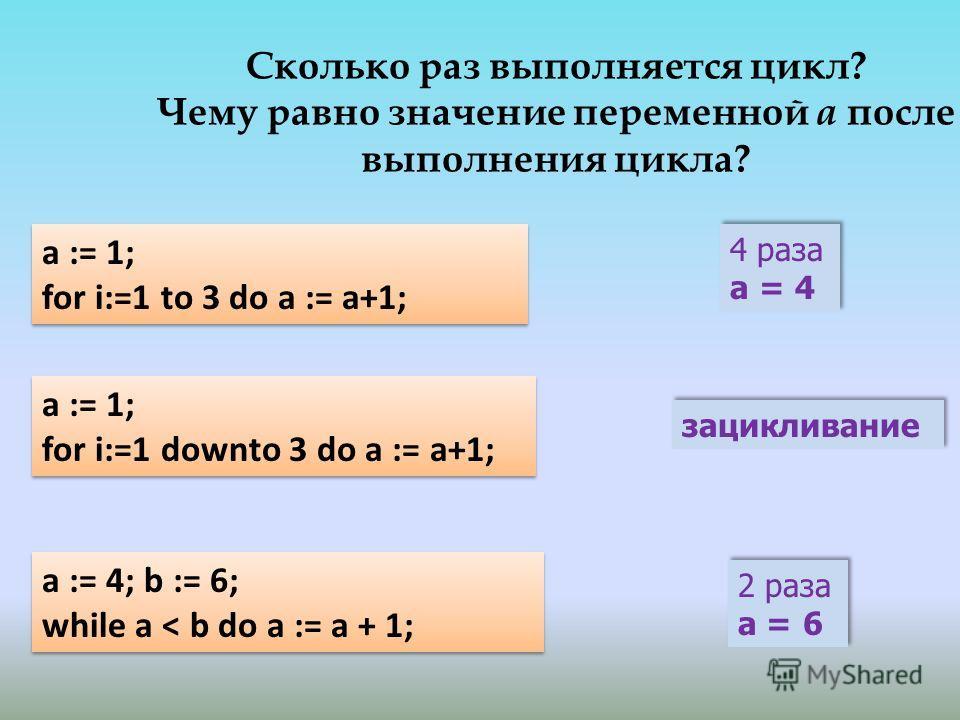 Сколько раз выполняется цикл? Чему равно значение переменной а после выполнения цикла? 4 раза a = 4 4 раза a = 4 a := 1; for i:=1 downto 3 do a := a+1; a := 1; for i:=1 downto 3 do a := a+1; 2 раза a = 6 2 раза a = 6 зацикливание a := 4; b := 6; whil