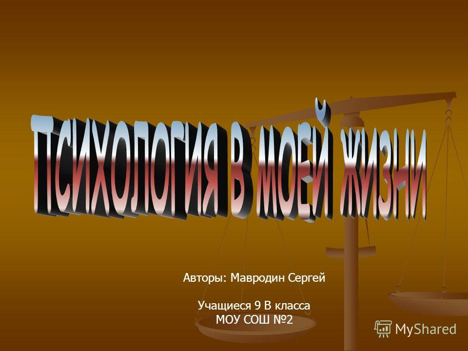 Авторы: Мавродин Сергей Учащиеся 9 В класса МОУ СОШ 2
