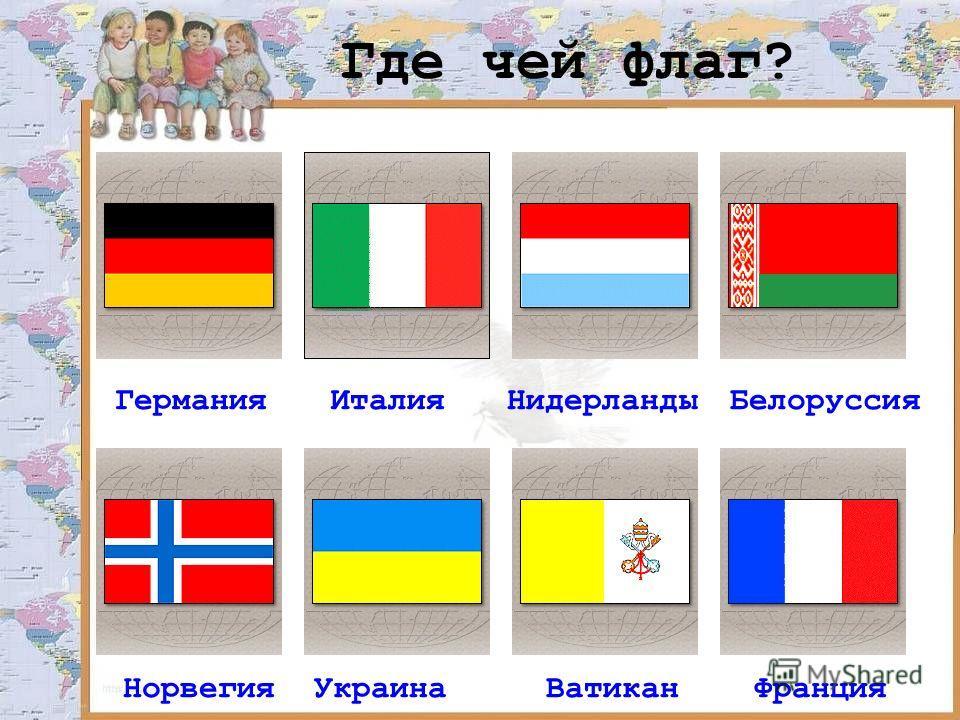 Где чей флаг? ГерманияИталияНидерландыБелоруссия НорвегияУкраинаВатиканФранция