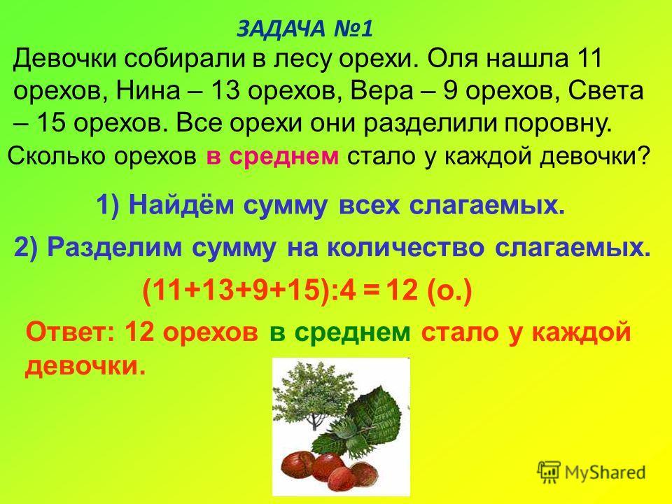 ЗАДАЧА 1 Ответ: 12 орехов в среднем стало у каждой девочки. 12 (о.)(11+13+9+15):4 = 2) Разделим сумму на количество слагаемых. 1) Найдём сумму всех слагаемых. Девочки собирали в лесу орехи. Оля нашла 11 орехов, Нина – 13 орехов, Вера – 9 орехов, Свет