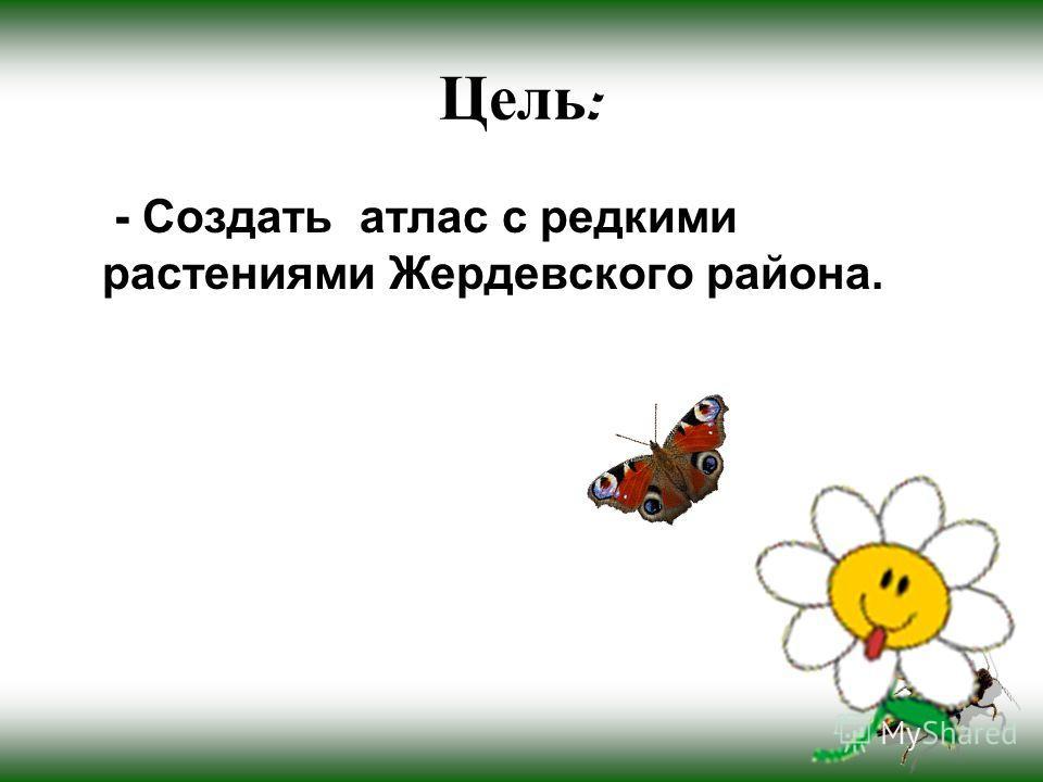Цель : - Создать атлас с редкими растениями Жердевского района.