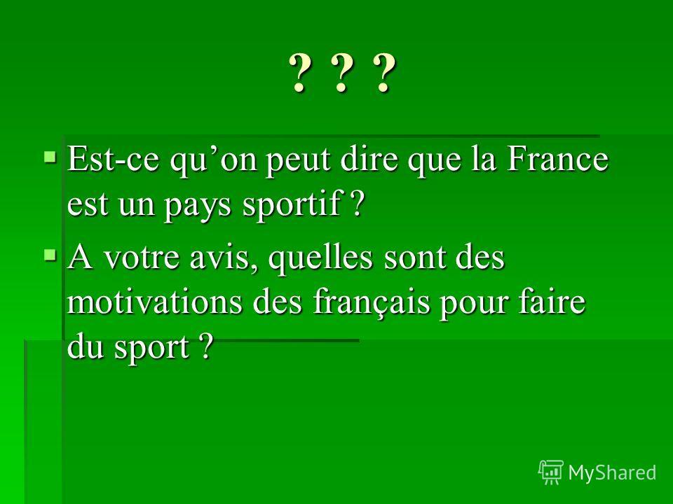 ? ? ? Est-ce quon peut dire que la France est un pays sportif ? Est-ce quon peut dire que la France est un pays sportif ? A votre avis, quelles sont des motivations des français pour faire du sport ? A votre avis, quelles sont des motivations des fra