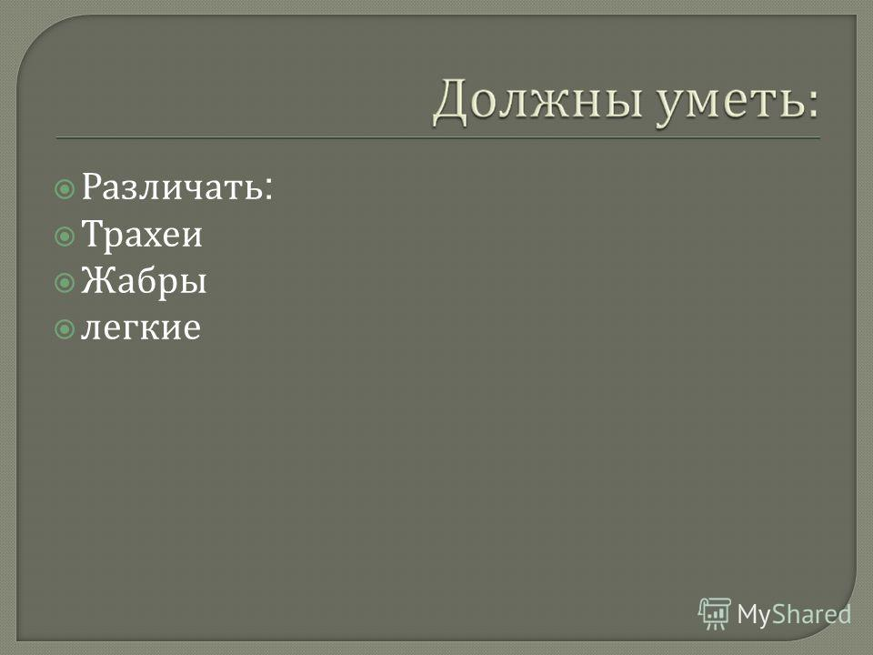 Различать : Трахеи Жабры легкие