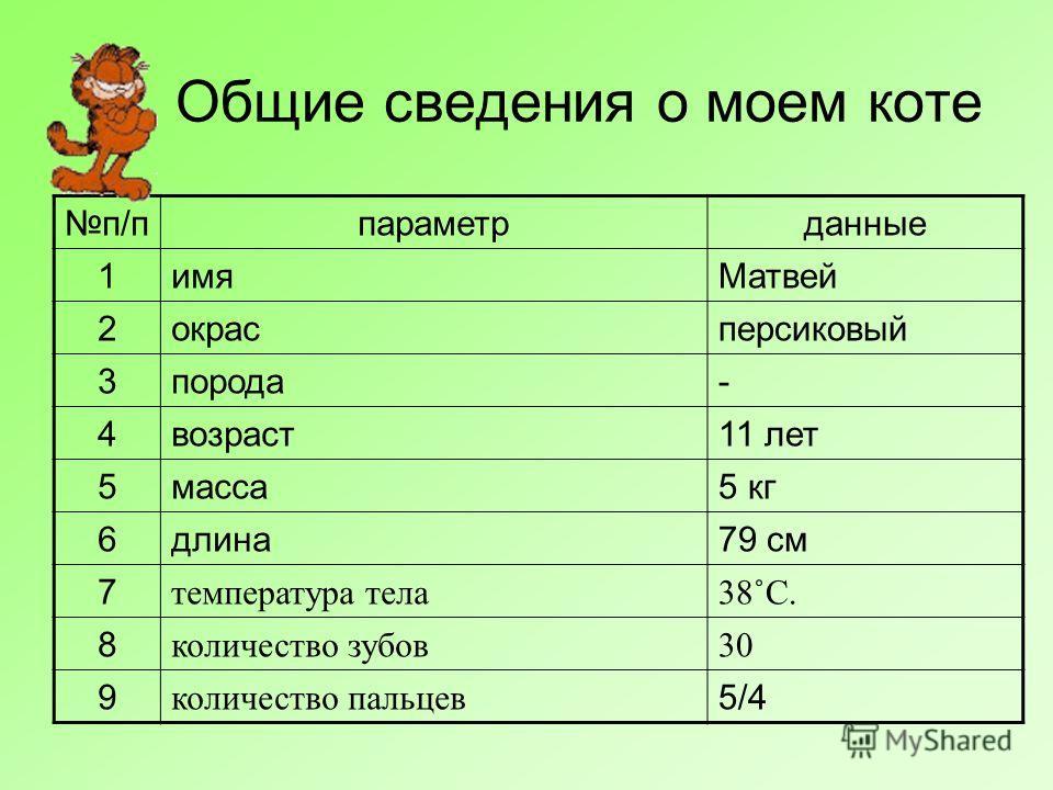 Общие сведения о моем коте п/пп/ппараметрданные 1имяМатвей 2окрасперсиковый 3порода- 4возраст11 лет 5масса5 кг 6длина79 см 7 температура тела38˚C. 8 количество зубов30 9 количество пальцев 5/45/4
