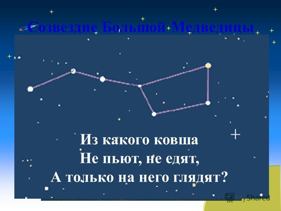 Созвездие Большой Медведицы Из какого ковша Не пьют, не едят, А только на него глядят?
