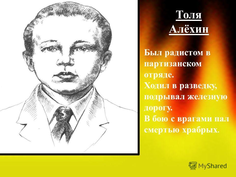 Толя Алёхин Был радистом в партизанском отряде. Ходил в разведку, подрывал железную дорогу. В бою с врагами пал смертью храбрых.
