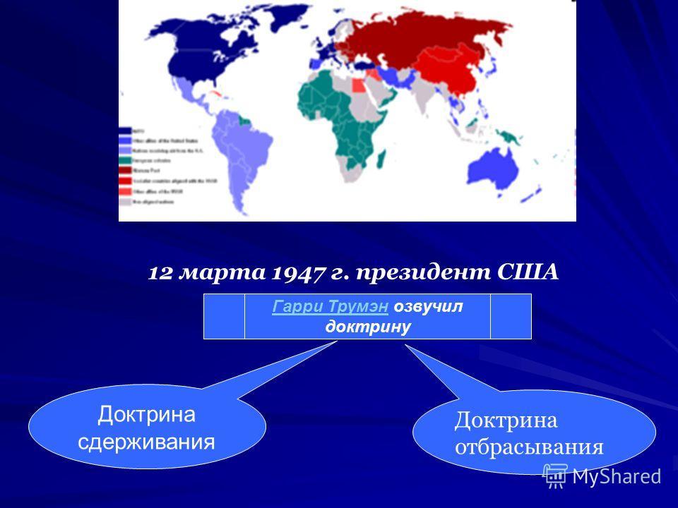 Биполярный мир 12 марта 1947 г. президент США Гарри ТрумэнГарри Трумэн озвучил доктрину Доктрина сдерживания Доктрина отбрасывания
