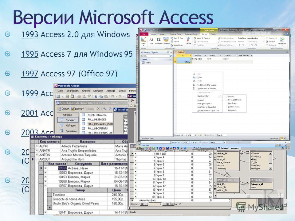 1993 Access 2.0 для Windows 1995 Access 7 для Windows 95 1997 Access 97 (Office 97) 1999 Access 2000 (Office 2000) 2001 Access 2002 (Office XP) 2003 Access 2003 (Office 2003) 2007 Microsoft Office Access 2007 (Office 2007) 2010 Microsoft Office Acces