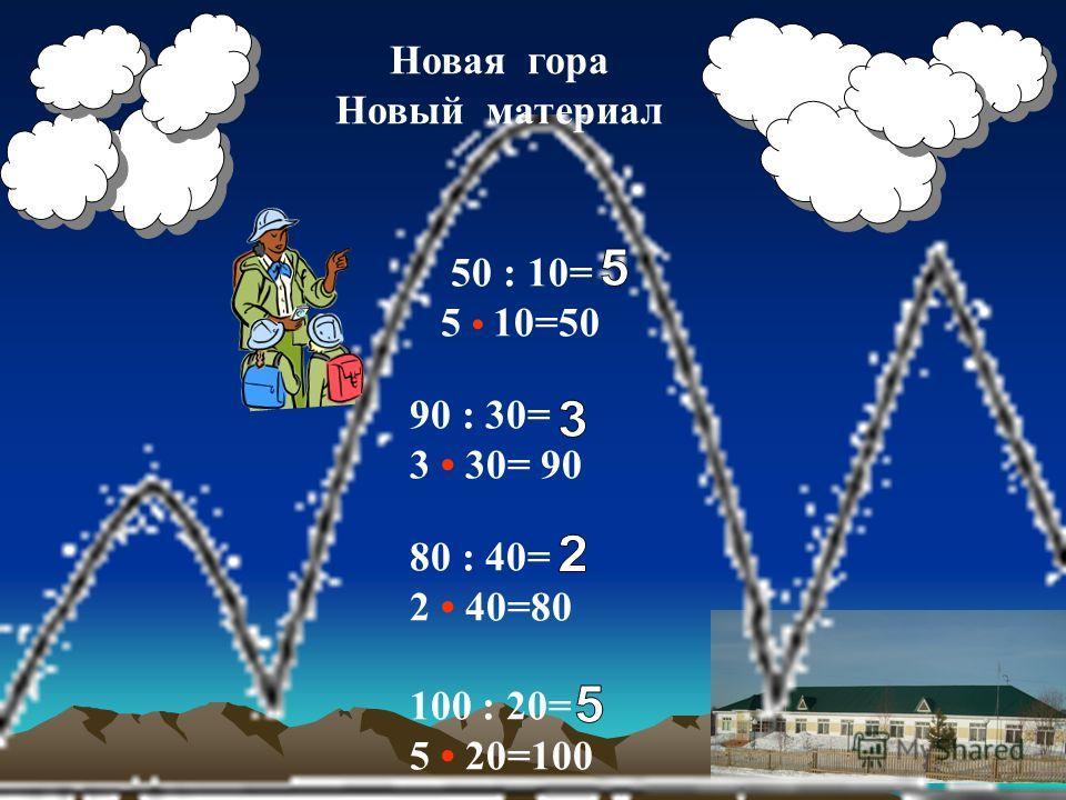 Новая гора Новый материал 50 : 10= 5 10=50 90 : 30= 3 30= 90 80 : 40= 2 40=80 100 : 20= 5 20=100