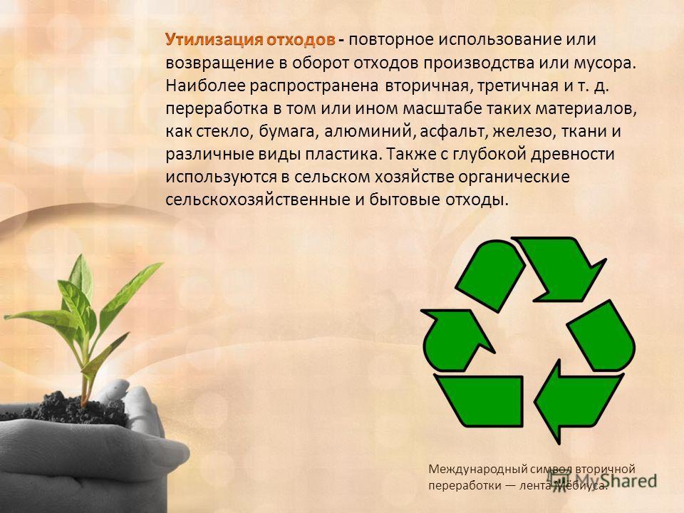 Международный символ вторичной переработки лента Мёбиуса.