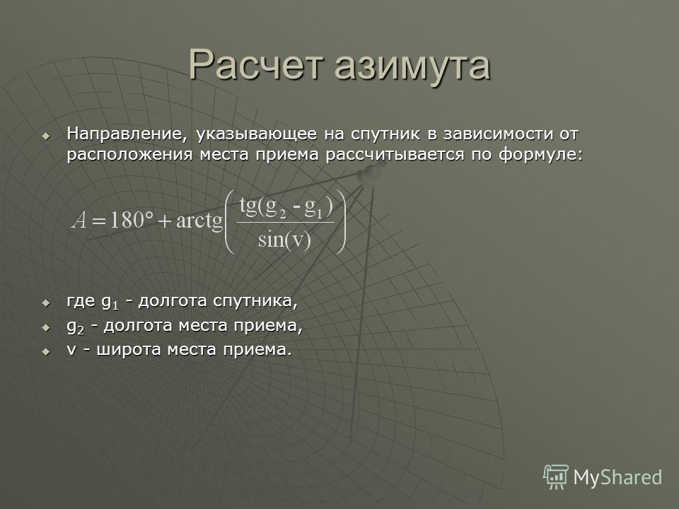 Расчет азимута Направление, указывающее на спутник в зависимости от расположения места приема рассчитывается по формуле: Направление, указывающее на спутник в зависимости от расположения места приема рассчитывается по формуле: где g 1 - долгота спутн