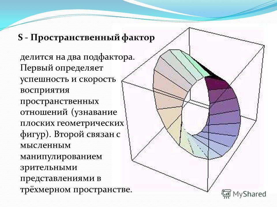 S - Пространственный фактор делится на два подфактора. Первый определяет успешность и скорость восприятия пространственных отношений (узнавание плоских геометрических фигур). Второй связан с мысленным манипулированием зрительными представлениями в тр