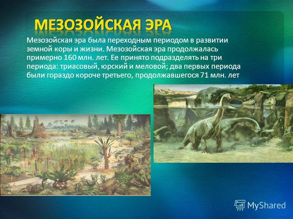 Мезозойская эра была переходным периодом в развитии земной коры и жизни. Мезозойская эра продолжалась примерно 160 млн. лет. Ее принято подразделять на три периода: триасовый, юрский и меловой; два первых периода были гораздо короче третьего, продолж