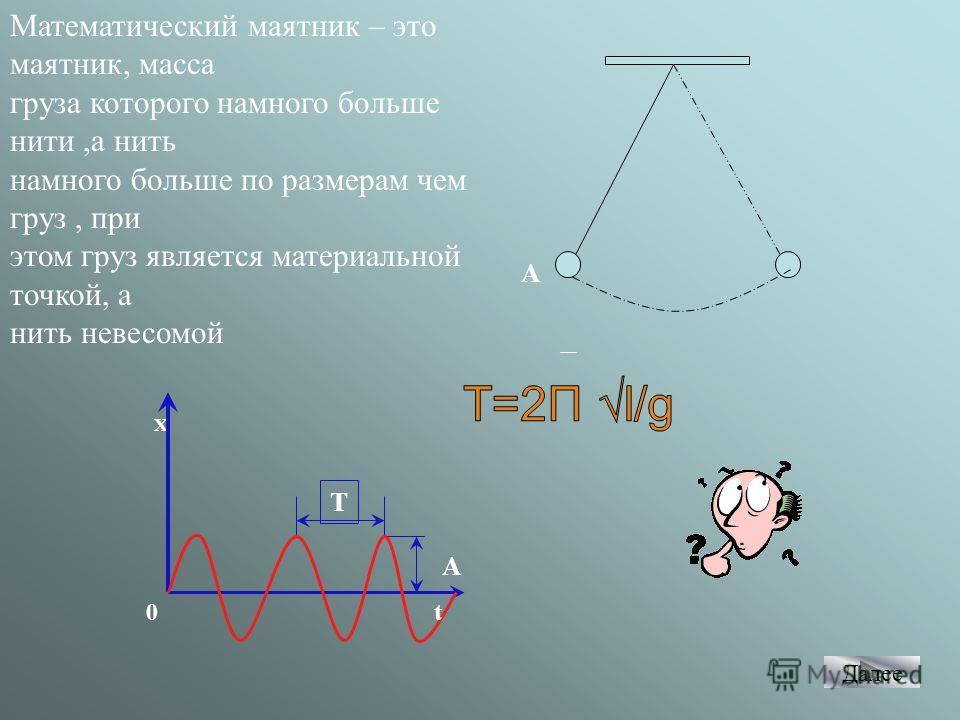 А Математический маятник – это маятник, масса груза которого намного больше нити,а нить намного больше по размерам чем груз, при этом груз является материальной точкой, а нить невесомой Х А Т t0 Далее