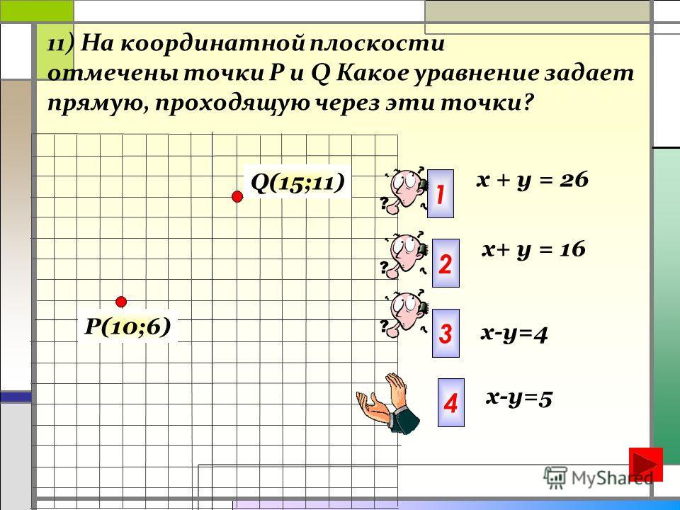 11) На координатной плоскости отмечены точки Р и Q Какое уравнение задает прямую, проходящую через эти точки? Q(15;11) P(10;6) x+ у = 16 1 2 х + у = 26 x-y=4 3 4 x-y=5