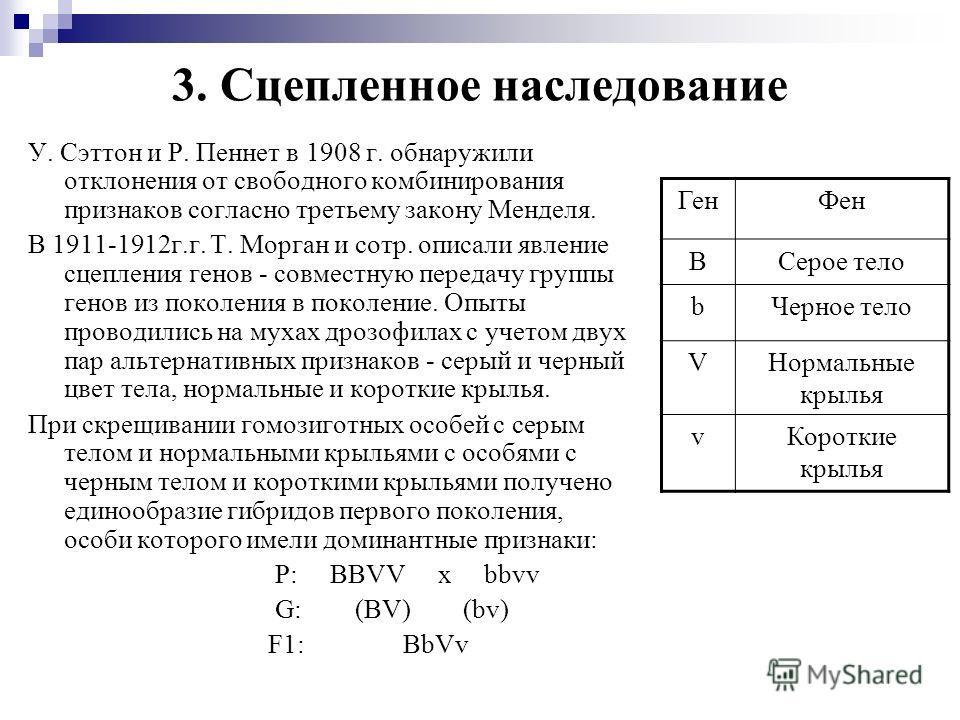 3. Сцепленное наследование У. Сэттон и Р. Пеннет в 1908 г. обнаружили отклонения от свободного комбинирования признаков согласно третьему закону Менделя. В 1911-1912г.г. Т. Морган и сотр. описали явление сцепления генов - совместную передачу группы г