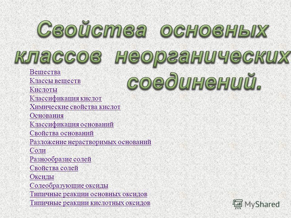 1.ВеществаВещества 2.Классы веществКлассы веществ 3.КислотыКислоты 4.Классификация кислотКлассификация кислот 5.Химические свойства кислотХимические свойства кислот 6.ОснованияОснования 7.Классификация основанийКлассификация оснований 8.Свойства осно